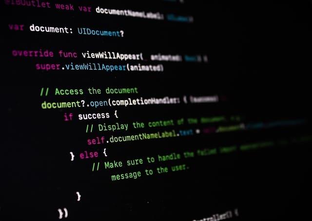 page de code sur un ordinateur